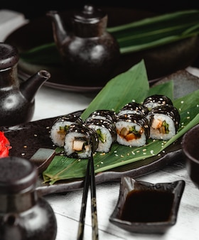 Sushi with rice fish and ginger