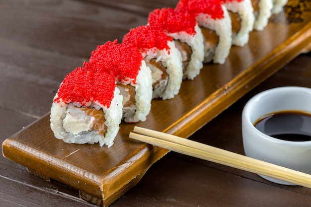 Sushi on wood table