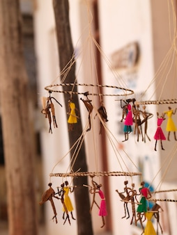 Suspended puppets on display in Lamu Town, Kenya Africa