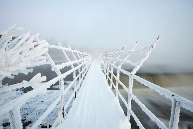 Suspension bridge in frost