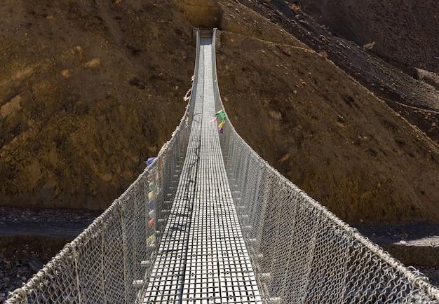 Suspension bridge himalayas nepal.