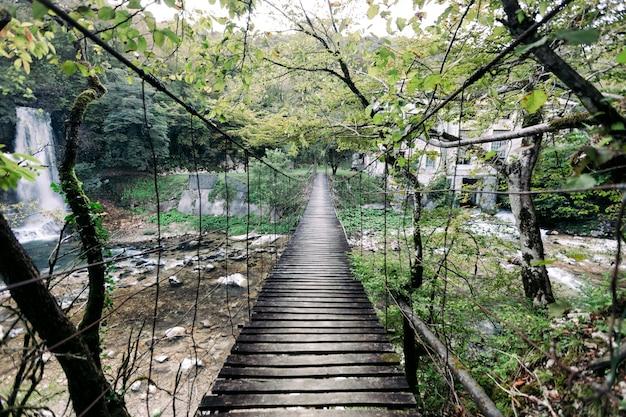 ジョージア州の森のサスペンション木製橋