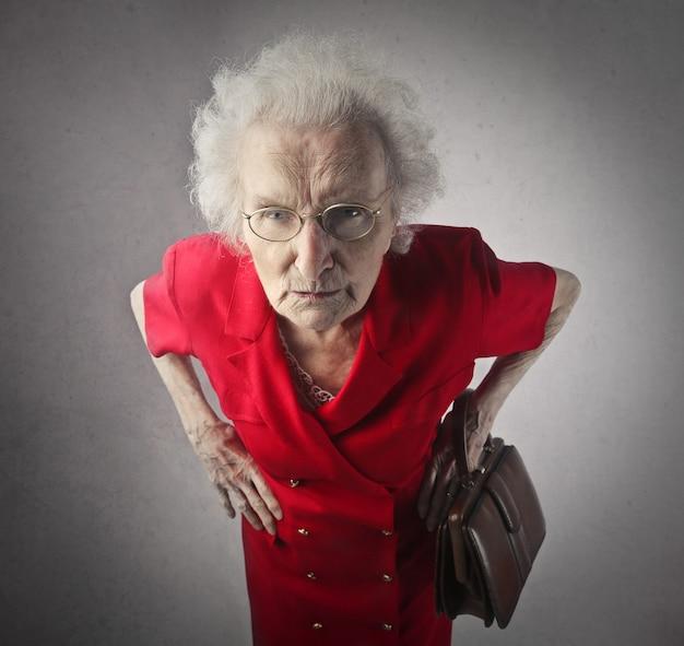 Suspicious looking senior lady