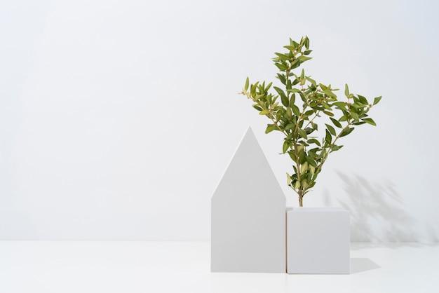 Концепция устойчивости с растениями, растущими из геометрических форм