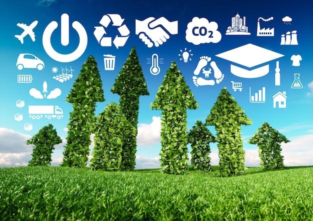 Концептуальный образ устойчивого развития. иллюстрация 3d свежих зеленых стрелок листьев, растущих от луга травы и указывающих на значки, связанные с экологией.