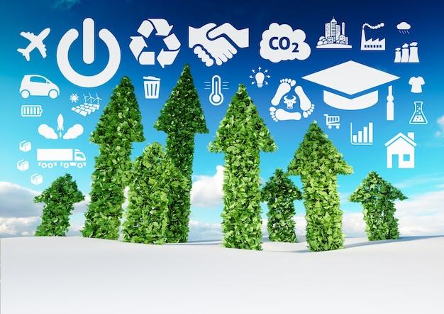 Концептуальный образ устойчивого развития. иллюстрация 3d свежих зеленых стрелок листьев, растущих от поля снега и указывая на значки, связанные с экологией.
