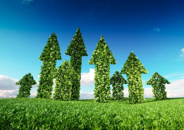 持続的なエコ成長と持続可能な開発のコンセプト。新鮮な芝生のフィールドから成長し、青い空を上向きに指している緑の葉の矢印の3dイラスト。