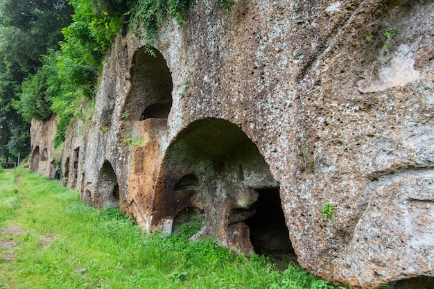 Sutri in lazio, italy. rupestrian necropolis from the roman period
