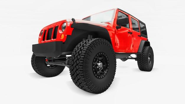 山、沼地、砂漠、荒れた地形での遠征用の強力な赤チューニングsuv。大きな車輪、急な障害物用のサスペンションを持ち上げます。 3dレンダリング。