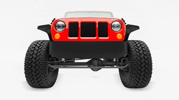 山、沼地、砂漠、荒れた地形での遠征用の強力な赤チューニングsuv。大きな車輪、急な障害物用の吊り上げサスペンション