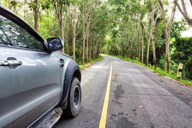森を通る道路上のsuv車。田舎道。
