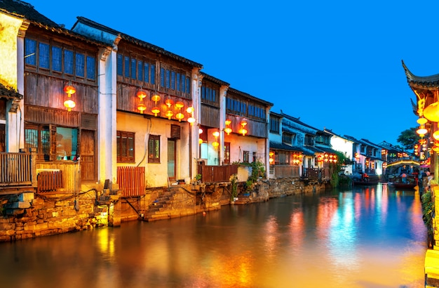 Suzhou ancient town night view