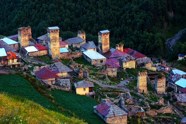 Svaneti towers in georgia, old historical towers. famous place in georgia to travel.