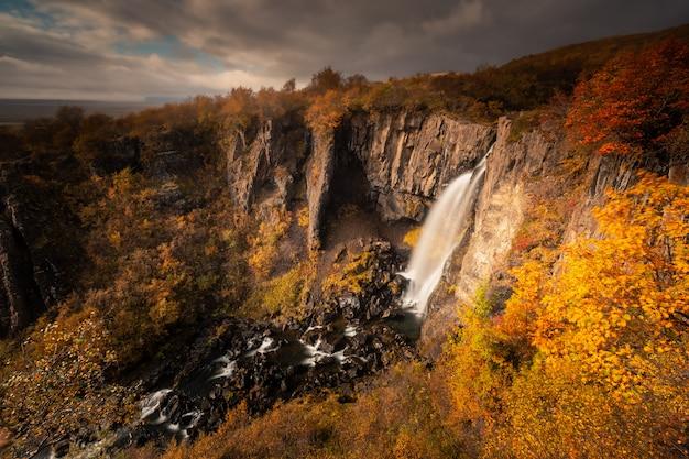 Водопад свартифосс в национальном парке скафтафетль в южной исландии.