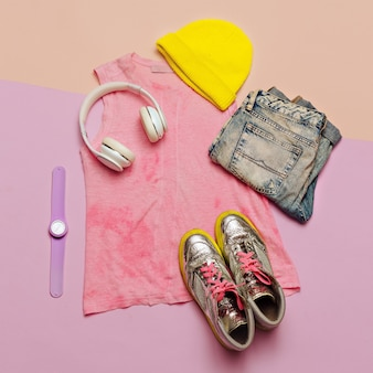 Swag urban outfit girl stylish summer clothes and bright accessories keds beanie headphones watch st
