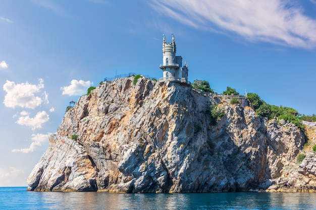 Swallow's nest castle in crimea, view from the black sea.