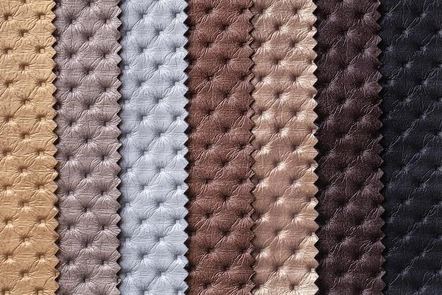 체스터 필드 패턴 갈색과 회색 색상, 배경으로 가죽 섬유의 견본.