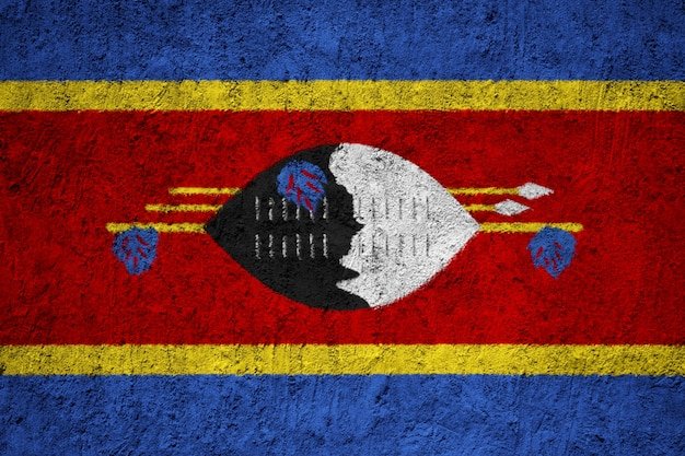 Swaziland flag painted on grunge wall