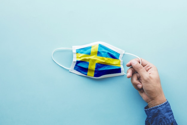 Sweden flag on mask top view