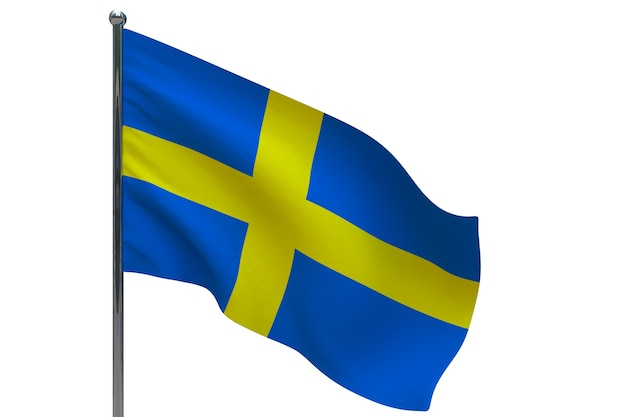 Sweden flag on pole. metal flagpole. national flag of sweden 3d illustration on white