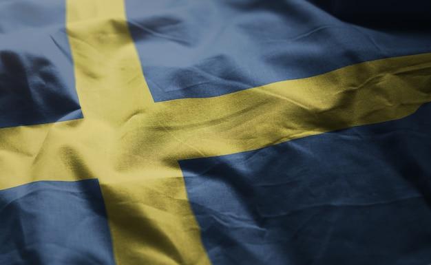 Sweden flag rumpled close up