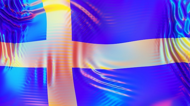 Sweden flag with lgbt rainbow reflections.