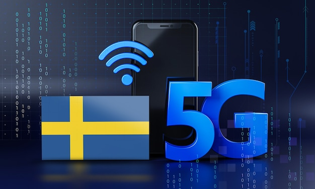 Sweden ready for 5g connection concept. 3d rendering smartphone technology background