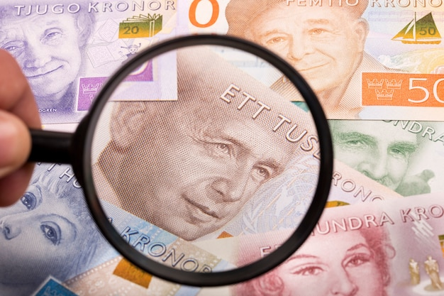 Swedish crowns in a magnifying glass a business background