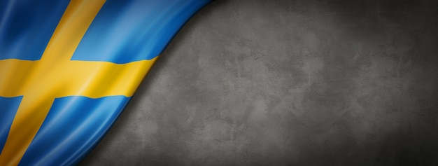 Swedish flag on concrete background