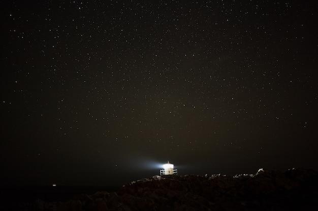 風の強い冬の夜に雪の中でスウェーデンの灯台