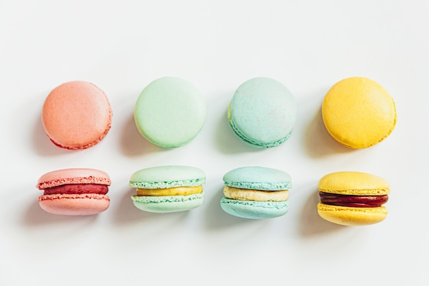 Sweet almond colorful pastel pink blue yellow green macaron or macaroon dessert