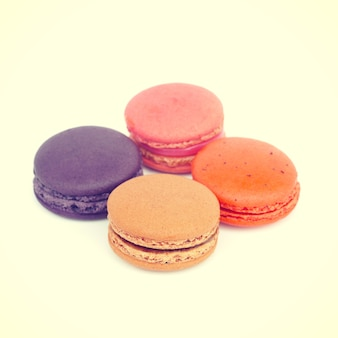 Sweet and colourful french macarons retro-vintage style
