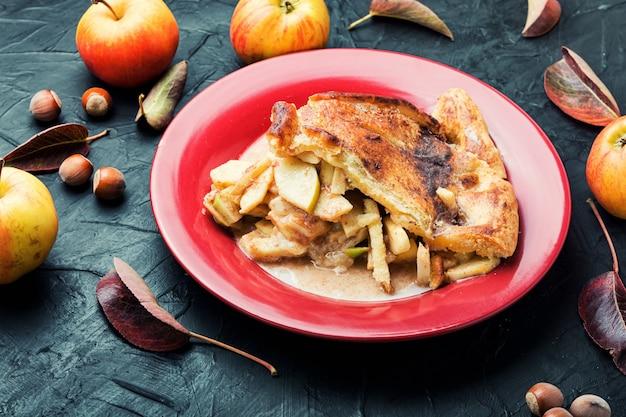 甘い秋のデザート、自家製の秋のアップルパイ。