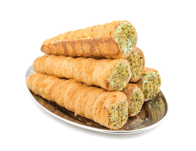 Sweet bakery food cream roll on white background