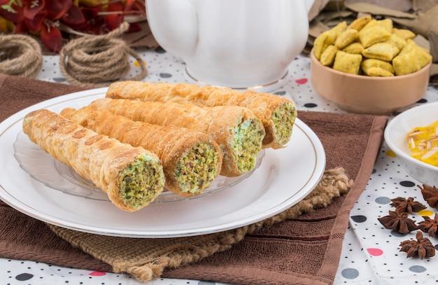 Sweet bakery food cream roll
