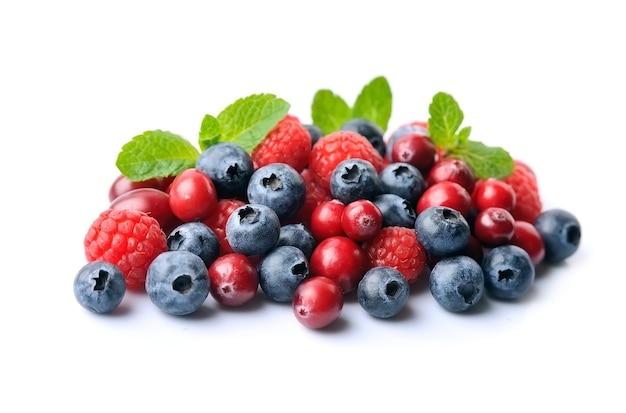 Сладкая ягода с мятой изолированы. клубника, черника, клюква, малина. Premium Фотографии