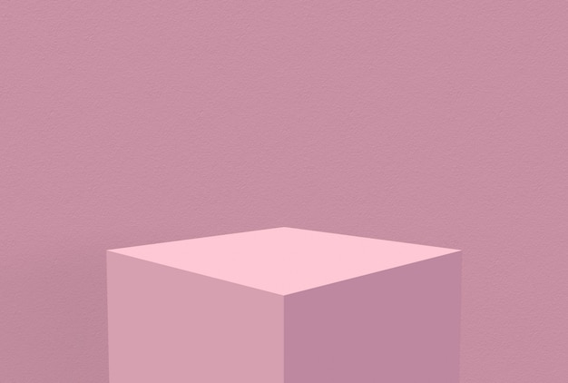Sweet blank pastel pink cube box with wall background.