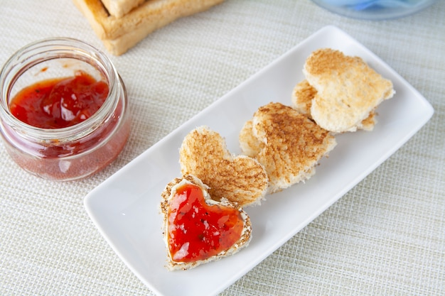 Sweet breackfast with toast and jam