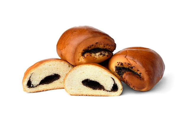 Sweet buns with poppy seeds isolated on white background.