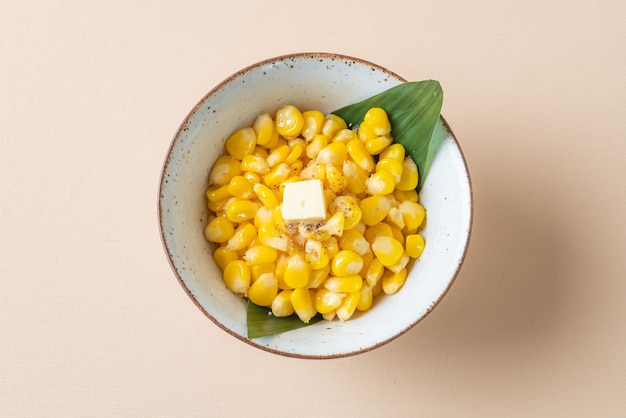 Sweet buttered corn in bowl