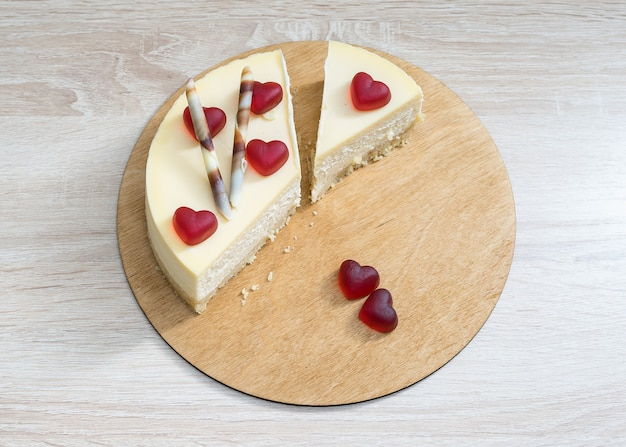 Sweet cake decorated with hearts for international valentine's day