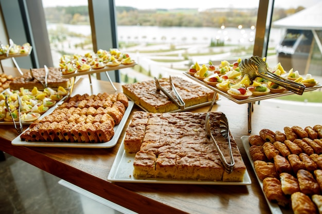 Sweet cakes on event catering.