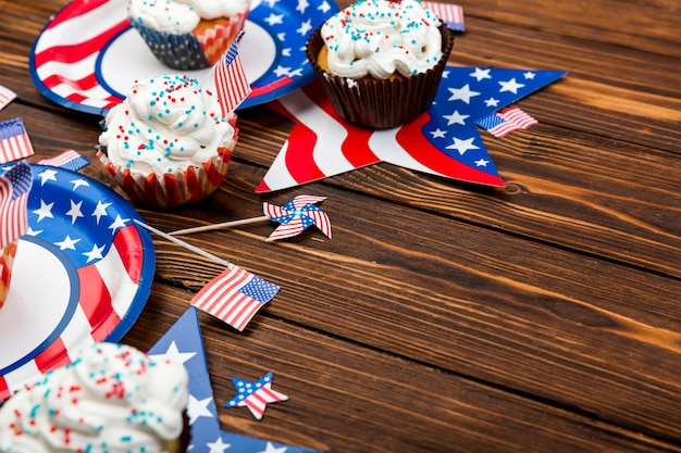 Sweet cakes for independence day on table