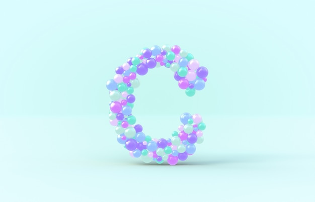 Sweet candy balls letter c
