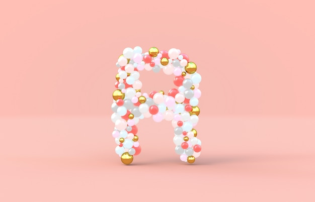 Sweet candy balls letter r