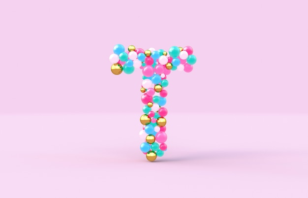 Sweet candy balls letter t