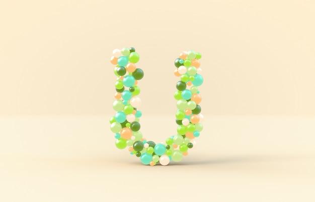 Sweet candy balls letter u