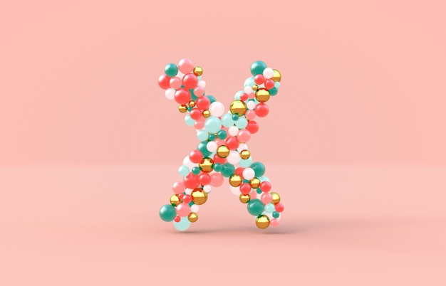 Sweet candy balls letter x