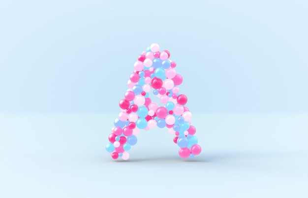 Sweet candy balls letter a