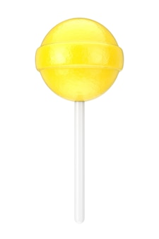 Sweet candy yellow lollipop on a white background. 3d rendering